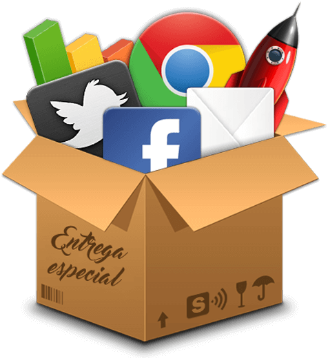 Caja con logotipos de Marketing Digital y Redes Sociales
